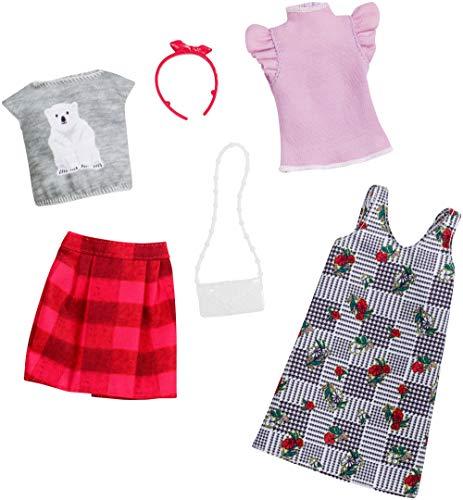 Barbie FXJ67 - Fashions Puppenkleidung 2er Pack Karo Blumen Muster, Puppen Spielzeug ab 3 Jahren,