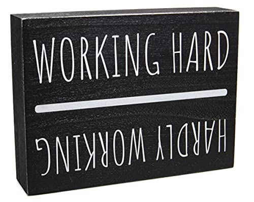 Office Desk Decor - Funny Desk Accessories for Work - Black and White Farmhouse Cubicle Home Office Desk Sign - Aesthetic Gifts and Supplies for Coworkers