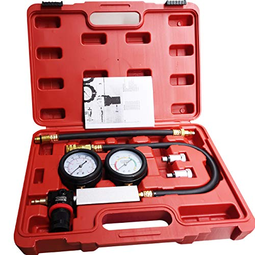 LEIMO Cylinder Leak Down Tester,Compression Test kit -Engine Cylinder Dual Gauge Leakdown Tester kit Diagnostics Tool