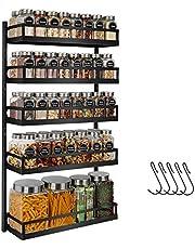 X-cosrack Spice Rack Wandmontage, 5 niveaus in hoogte verstelbare kruidenorganizer plank opslag voor keukenkastdeur, tweeërlei gebruik kruidenhouder met haken, zwart patent in afwachting