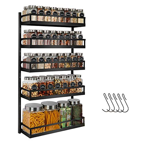 X-cosrack Wall Mount Spice Rack Organizer 5 Tier Height-Adjustable Hanging Spice Shelf Storage for Kitchen Pantry Cabinet Door, Dual-Use Seasoning Holder Rack with Hooks, Black-Patented