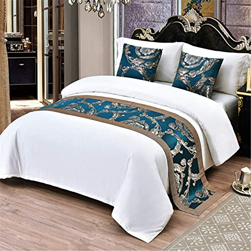 XJZKA Moda Jacquard ropa de cama colchas de lujo Corredores cama toalla decoraciones para dormitorio de hotel, azul oscuro-50x240 cm para cama de 180 cm