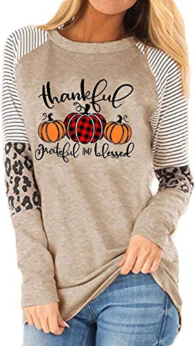 Thankful Grateful Blessed Print T Shirt Women Thanksgiving Pumpkin Long Sleeve Blouse Leopard Printed Striped Fall Tee Tops Gray