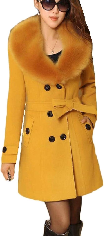 ZXFHZSCA Women's Casual Woolen Double Breasted FauxFur Collar Pea Trench Coat