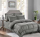 CELINE LINEN 8-Piece Bed-in-a-Bag Comforter Set on Amazon Silky Soft Bamboo Design Comforter,Bed Sheet Set,with Double Sided Storage Pockets, Full/Queen, Gray
