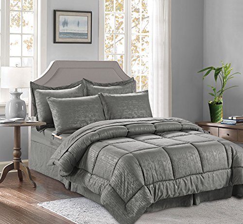 8-Piece Bed-in-a-Bag Comforter - Silky Soft Bamboo Design Comforter ,Bed Sheet Set ,with Double Sided Storage Pockets