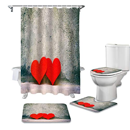 4 Pcs Shower Curtain Set Include Non-Slip Bath Rug Toilet Lid Cover Contour Mat Waterproof Bath Curtain Valentine's Day Red Heart Cement Wall Corner for Bathroom Decor