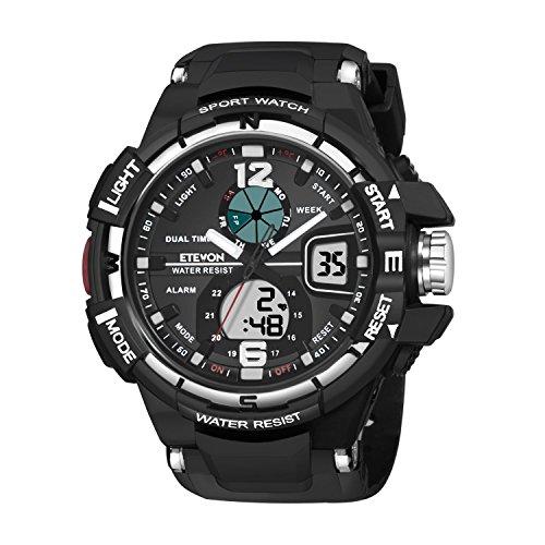 Men's Quartz Luxury Big Face Analog Digital Watch Dual Time, Military Outdoor Sport Watches for Men Black