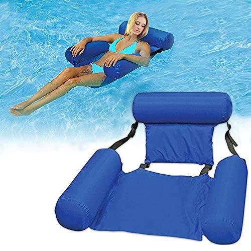 HUAMAO Aufblasbares Schwimmbett, Wasser-Hängematte 4-in-1Loungesessel Pool Lounge luftmatratze Pool aufblasbare hängematte Pool aufblasbare hängematte für Erwachsene und Kinder (Blue)