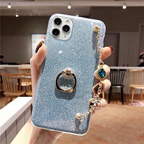 LIUYAWEI Estuche de teléfono con cordón de Pulsera de Lujo de Diamante de Silicona Ultrafino de Moda para Redmi Note 5 6 7 7A 8 8T 8A Pro Funda, Azul, para Redmi Note 8 Pro