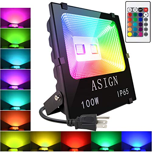 100W RGB LED Flood Lights, Indoor Outdoor Decoration Light Waterproof Color Changing LED Security Light with Remote Control, Dimmable Wall Washer Lights with US 3-Plug