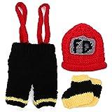 YOUTHINK Accesorios de fotografía para bebés Disfraz de Bombero con Sombreros Pantalones Traje de Ganchillo para recién nacidos0-6 Meses