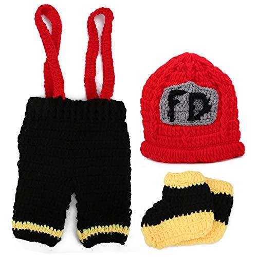 Accesorios de fotografía para bebés Disfraz de bombero con sombreros Pantalones Traje...