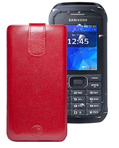Favory ® Etui Tasche für / Samsung Xcover 550 (SM-B550H) / Leder Handytasche Ledertasche Schutzhülle Hülle Hülle *Lasche mit Rückzugfunktion* rot
