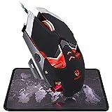 BlueFinger Backlit Gaming Mouse, Ergonomic Backlit Breathing LED Mice, 4 Colors Backlight Modes Up to 3200 DPI for Laptop Computer PC Game Work