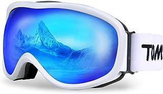 Ski Goggles Windproof Snow Goggles Fit Over Glasses, Anti-Fog UV Protection Non-Slip Strap Ski Snowboard Goggles for Men Women