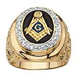 Palm Beach Jewelry Men's Gold-Plated Round Cubic Zirconia Masonic Nugget Ring Size 9