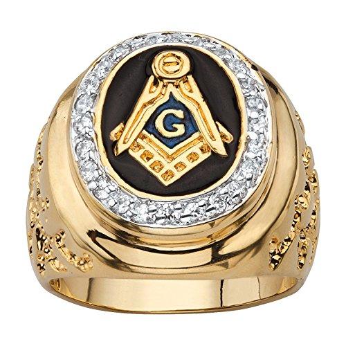 Hombres de la Oval de esmalte negro y circonitas cúbicas 14K chapado en oro de anillo masónico