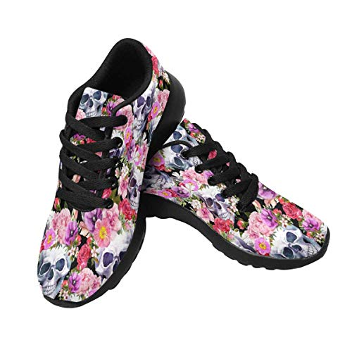InterestPrint Womens Running Jogging Shoes Athletic Sneakers Gym Workout Walking US8 Human Skulls with Flowers, Pattern, Watercolor