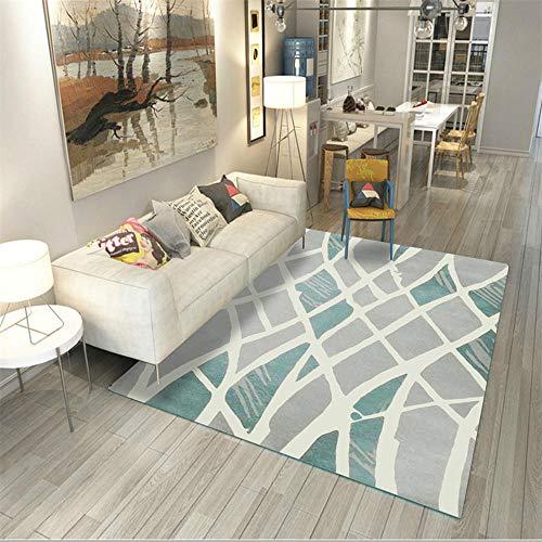 AU-SHTANG alfombras Baratas Salon Alfombra Azul Clara del Modelo geométrico Irregular del diseño, Alfombra cómoda Alfombra Ducha Antideslizante del sofá de la Mesa de Centro-Azul Claro_Los 80x160cm