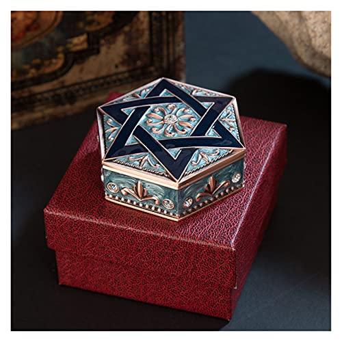 zhongbao Caja de almacenamiento de joyería retro princesa de seis puntas estrella de metal creativo caja de joyería joyería de maquillaje caja de regalo caja de almacenamiento de joyería (Color: B)