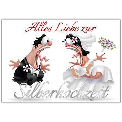 A4 XXL Karte SILBERHOCHZEIT BRAUTPAAR mit Umschlag - edle lustige Klappkarte zum 25 Hochzeitstag - Silberne Hochzeit Glückwunschkarte von BREITENWERK