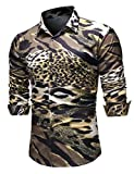 URONLY Mens Long Sleeve Fashion Luxury Design Print Dress Shirt Slim Fit Casual (Large, Multicolored)