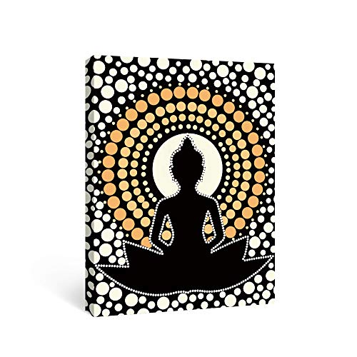 SUMGAR Zen Wall Art Modern Yellow Buddha Canvas Paintings Bedroom Indian Pictures Black Buddhist Prints Asian Meditation Framed Artwork Office Decor Yoga Studio,12x16 inch