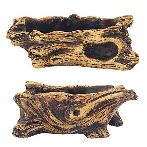 happy bonsai 2 pc Cement Driftwood Planter Gardening Pot Stump Log Container