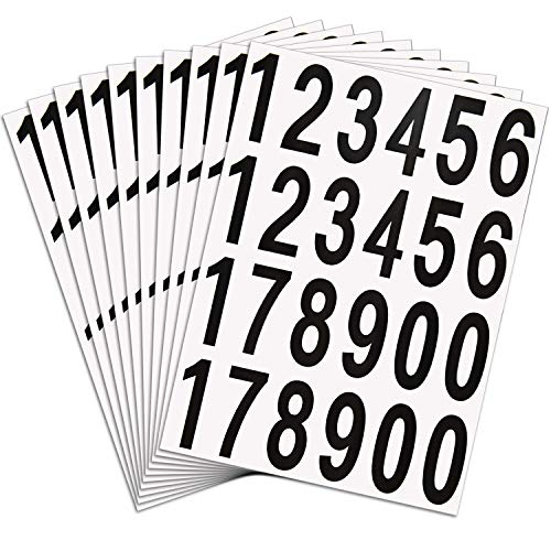 Outus 240 Pieces 10 Sheets Numbers Stickers Mailbox Numbers Self Adhesive Vinyl Numbers for Residence and Mailbox Signs (2 Inch, Black on White)