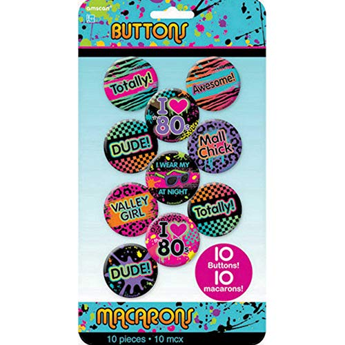 80's Party Buttons, 10 Ct.