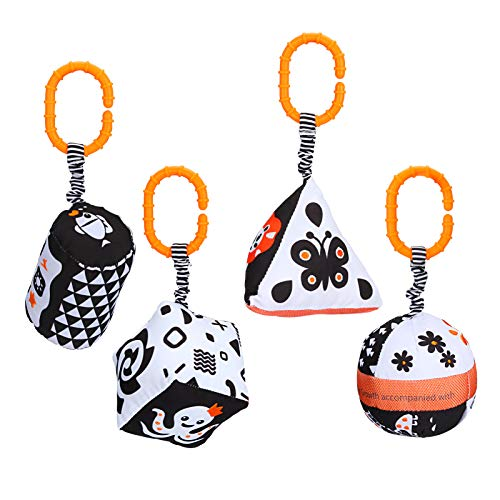 Laelr 4 Pack Pushchair Pram Toys for Baby Soft Jingle Bell Newborn Cot Hanging Rattles Toy Black and White Stroller Clips Toddler Soft Toys Infant Sensory Educational Toys