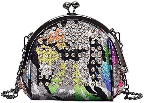 Mujeres Glitter Sequin Lock Top Manija Bolso Bolso de Noche Crossbody Bolso de Hombro con Correa de Cadena Bolsos de Hombro (Color : Plata)