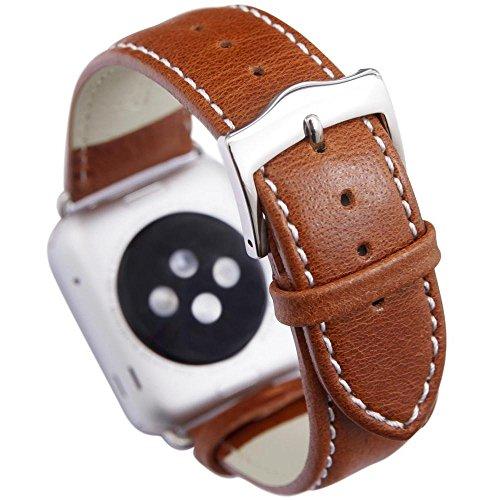 Tivoli, cinturino di cuoio con argento per Apple orologio, 38mm