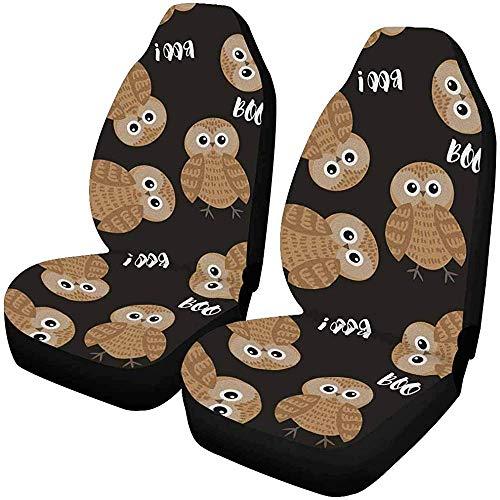 2 stuks aangepaste Halloween Owl Boo autostoelhoezen voor de voorkant, autostoelbeschermers voor de meeste personenauto's, vrachtwagens, SUV's
