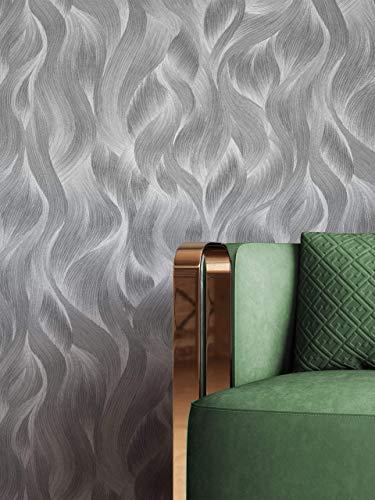 NEWROOM Tapete Schwarz Vliestapete Wellen - Mustertapete Glamour Anthrazit Struktur Muster Modern inkl. Tapezier-Ratgeber