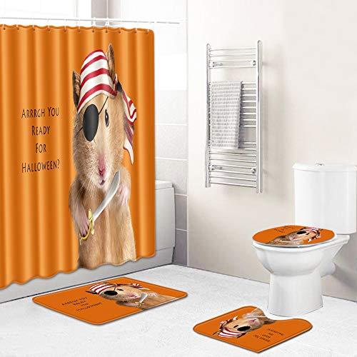 WEIFENG Europäische und amerikanische Außenhandel Halloween WC-Set vierteilige Badezimmermatte Wohnzimmer Schlafzimmer Teppich grenzüberschreitend 286 45 * 75 cm + 180 * 180 cm