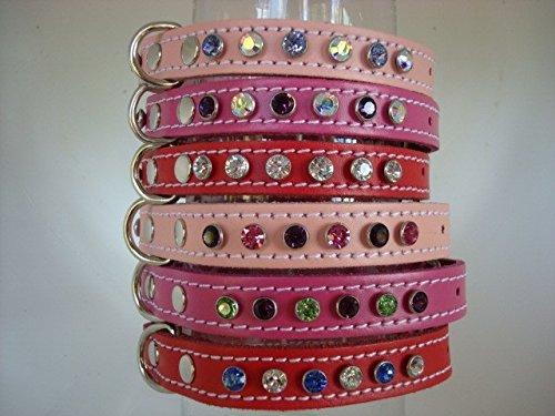 Cristales Swarovski Diseño de piel de cuello de perro su propio 9opciones de cristal 4Tamaños de cuello 3combinaciones de colores rojo, rosa o más de 100), color rojo