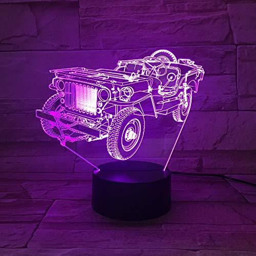 Kreativer Alter Jeep beleuchtet Nachtlichtfarbänderungsacryltischlampenschlafzimmer-Dekorationsgeschenk