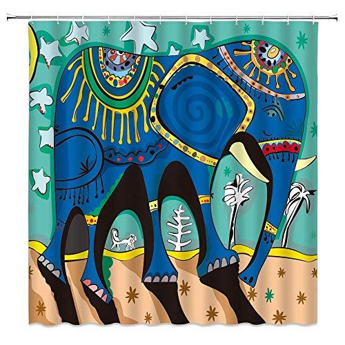 Aliyz Elefant Duschvorhang Blau Baby Kunst Baby Grün Indische Malerei Böhmische Tierwelt Badezimmer Gardinen Dekor Polyester Stoff Schnelltrocknend 72x72 Zoll Inklusive Haken