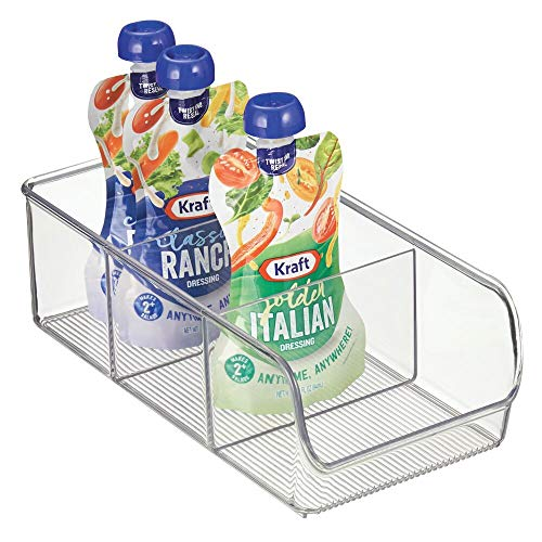 mDesign Plastic Food Packet Kitchen Storage Organizer Bin Caddy - Holds Spice Pouches, Dressing Mixes, Hot Chocolate, Tea, Sugar Packets in Pantry, Cabinets or Countertop - Clear