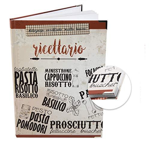 Logbuch-Verlag Kochbuch zum selbst Gestalten A4 mit italienischem Titel RICETTARIO - Rezeptbuch für eigene Rezepte - Geschenk Weihnachten Geburtstag