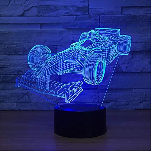 LBJZD luz de noche Cool Sports Car Colorful Vision Stereo Usb Lámpara Led 3D Night Ligth Control Remoto Atmósfera Lámpara Juguete De Regalo Con Mando A Distancia