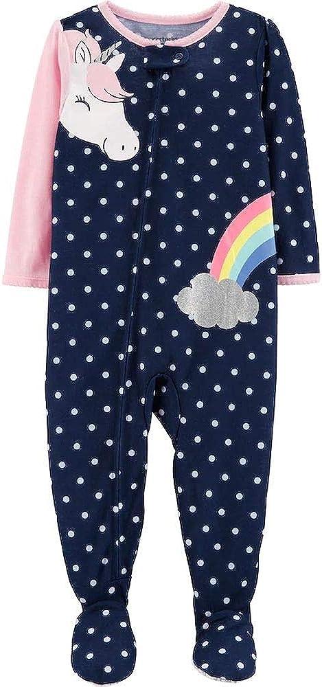 Toddler Girl's Blue Polka Dot Unicorn Rainbow Footed Pajama Sleeper