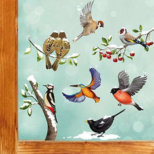 Wandtattoo Loft Fensterbild Weihnachten Winter Vogel Set winterliche Fensterdeko – Wiederverwendbare Fensteraufkleber/DIN A4