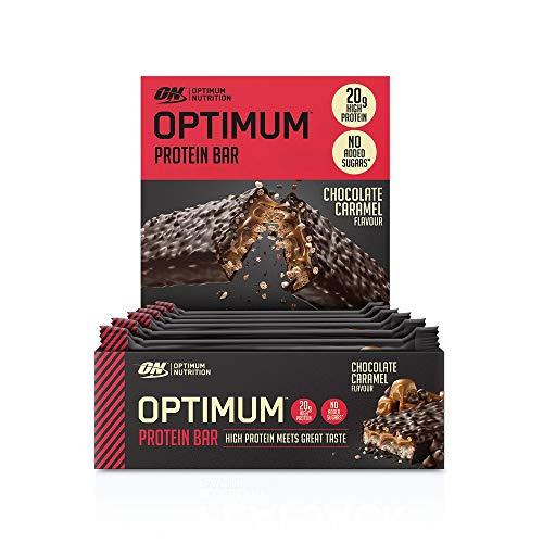 Optimum Nutrition Protein Bar, Barre Proteine Avec Whey Protéine, Sans Sucre Ajouté, Riche en Proteine, Faible en Glucide, Chocolat Caramel, Boîte de 10 (10 x 60 g)
