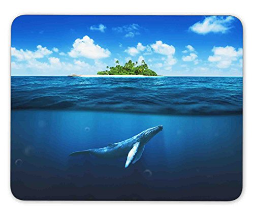 ABin Beautiful Island with Palm Trees Whale Underwater Mouse pad Mouse pad Mouse pad mice pad Mouse pad The Office mat Mouse pad Mousepad Nonslip Rubber Backing