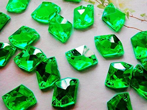 Vert à coudre Strass 21 * 16 mm Acrylique Cristal Cosmic Forme Plat Strass Diamant Gem Pierre 100 pcs/lot