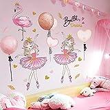 Cartoon girl dancer etiqueta de la pared flamingo animal tatuajes de pared habitación de los niños habitación del bebé decoración del hogar etiqueta de la pared papel pintado mural90cmX60cm