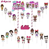 LO_L Cake Topper - Lifenjoy 24pcs Happy Birthday Cupcake Toppers for Kids Birthday Game Theme Party Decorations Supplies
